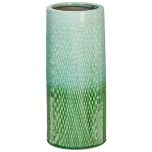"10.5"" Green & Blue Glazed Vase"