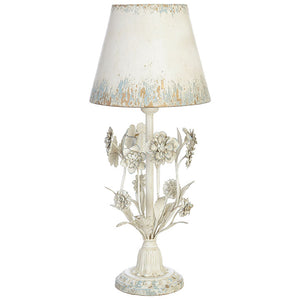 Distressed Floral Lamp With Metal Shade