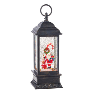 "11"" Santa and Candy Cane Musical Lighted Water Lantern"