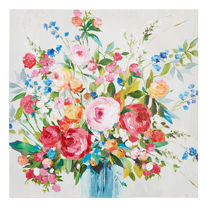 Bright Floral Arrangment in Blue Vase Wall Art