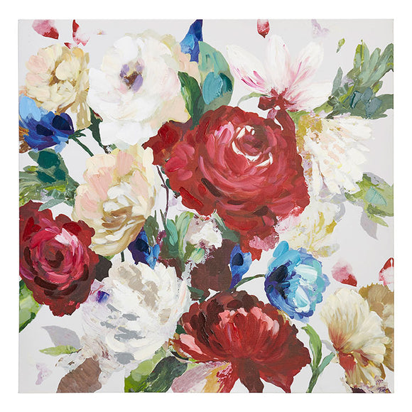 Red & Blue Floral Canvas Wall Art
