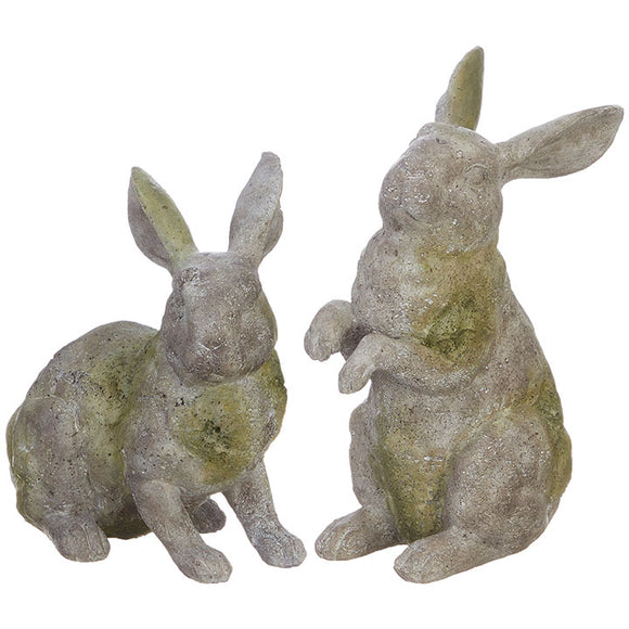 "8.75"" Mossy Rabbit Statue - 2 Assorted"