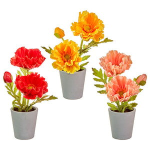 "9"" Real Touch Potted Poppies – 3 Assorted"