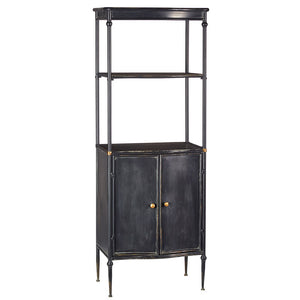 "63.7"" Metal Bookshelf Cabinet in Black"