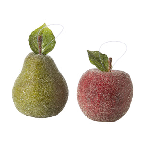 "4"" Beaded Pear and Apple Ornament - 2 Assorted"
