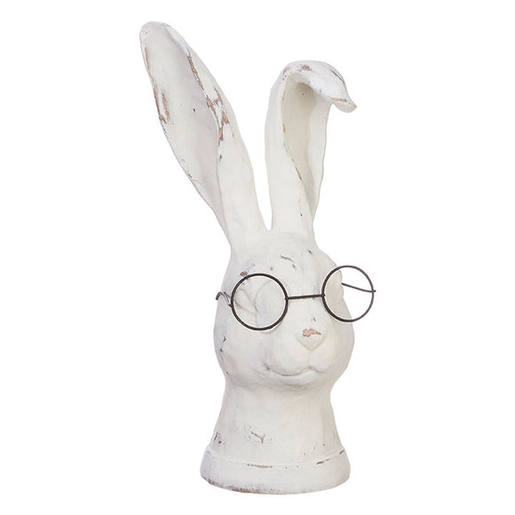 "10.75"" Rabbit Statue with Glasses"