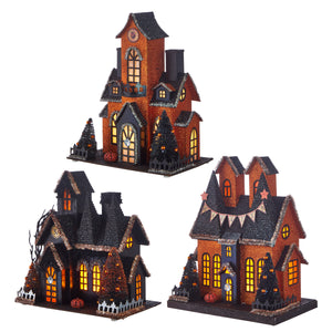 "12.25"" Lighted Haunted House - 3 Assorted"
