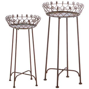 "30.75"" Distressed Plant Stand Set of 2"