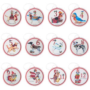 "4"" Twelve Dogs of Christmas Disc Ornament - 12 Assorted"