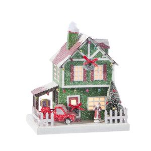 "8.75"" Lighted House with Car"