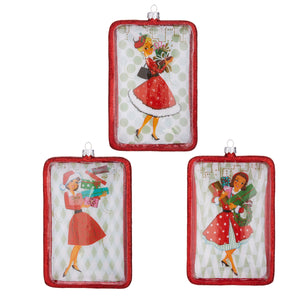 "6"" Holiday Shopper Disc Ornament - 3 Assorted"