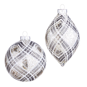 "4"" Plaid Ornament - 2 Assorted"