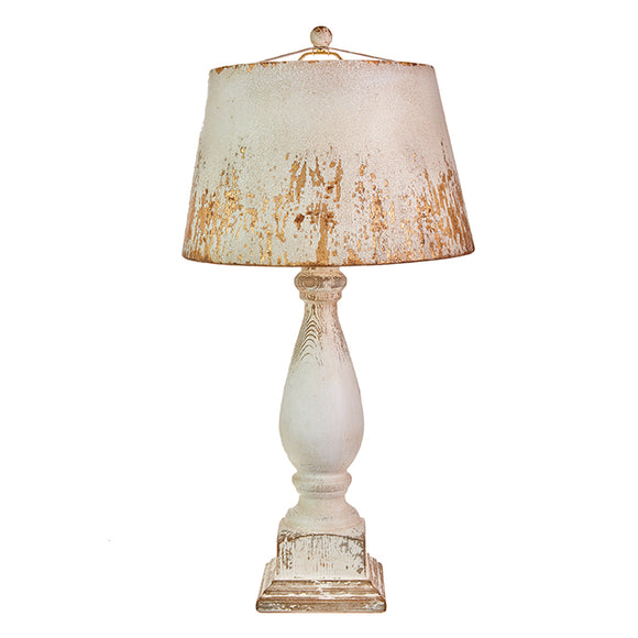 "31"" Distressed Lamp with Metal Shade"
