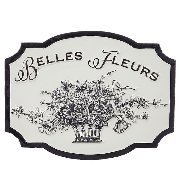 "18"" Black and White Belles Fleurs Wall Art"