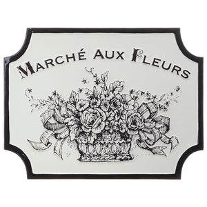 "18"" Black and White Marche Aux Fleurs Wall Art"