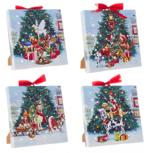 "6"" Dogs of Christmas Lighted Print Ornament with Easel Back - 4 Assorted"