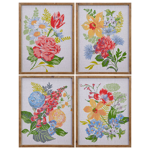 "24"" Framed Vintage Inspired Floral Print – 4 Assorted"