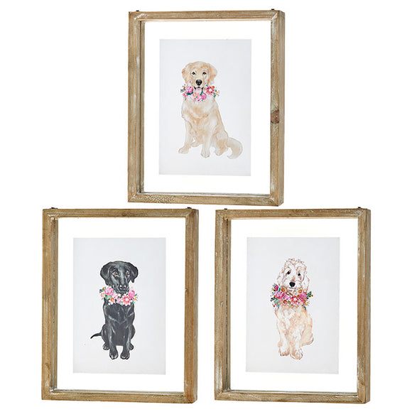 "10"" Dog with Flowers Print – 3 Assorted"