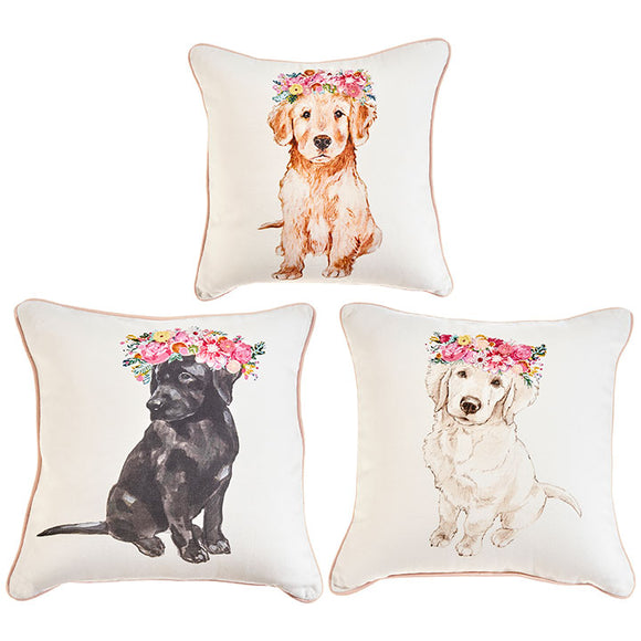 "14"" Puppy With Flowers Pillow – 3 Assorted - Sold Separately"