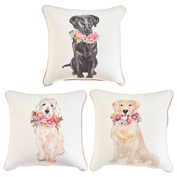 "14"" Dog with Flowers Pillow – 3 Assorted - Sold Separately"