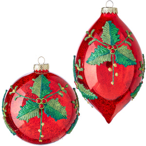 "7"" Holly Patterned Ornament - 2 Assorted"
