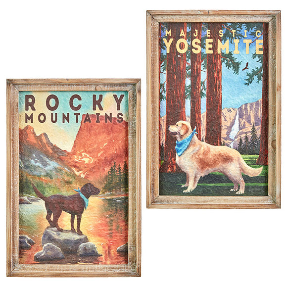 "18"" Dog National Parks Framed Wall Art – 2 Assorted"