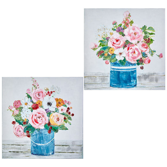 "17.75"" Bucket of Flowers Wall Art – 2 Assorted"