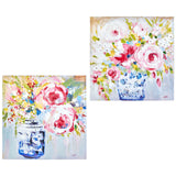 "31.5"" Floral Wall Art Blue Vases With Pink Roses – 2 Assorted"