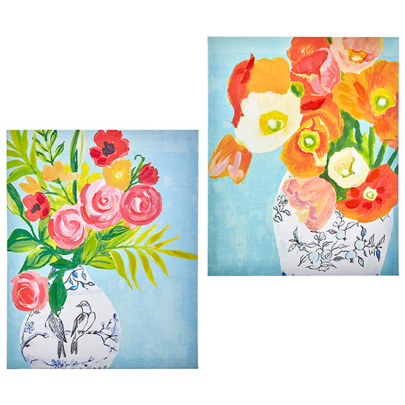 "19.75"" Floral Vase Wall Art – 2 Assorted"