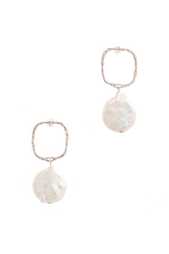 Silver Drop Earrings with Fresh Water Pearl