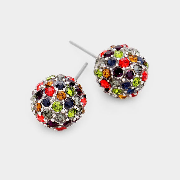 Rhinestone Pave Disco Ball Earrings With Lime Red Black & Gray