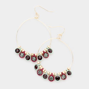Mint Burgundy Gray and Black Drop Earrings Gold