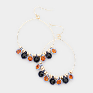 Periwinkle Red Black and Gold Drop Earrings