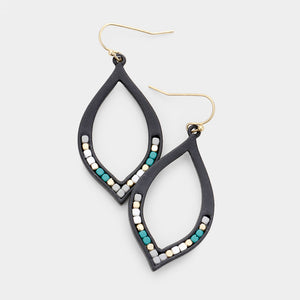 Black Gold Teal Gray Drop Earrings