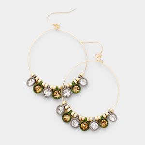 Olive Gray Gold and Brown Drop Earrings