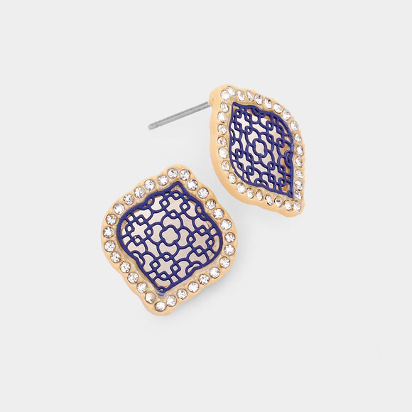 Navy Filigree Stud Earrings with Rhinestones