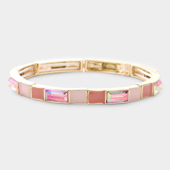 Gold Pink Stretch Bracelet