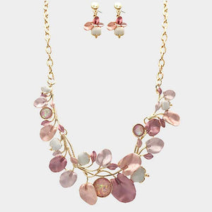 Pink Leaf Necklace and Earring Set