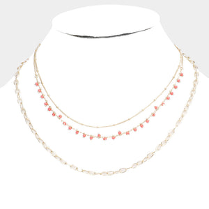 3 Tier Coral Necklace