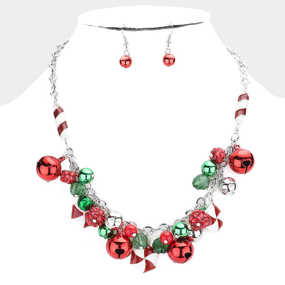 Christmas Peppermint and Jingle Bell Necklace and Earring Set