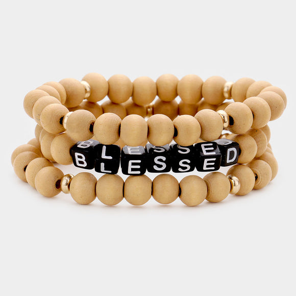 Set of 3 Wood and Beads Blessed Bracelets