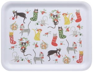 "14"" Rectangle Tray Meowy Christmas Cats"