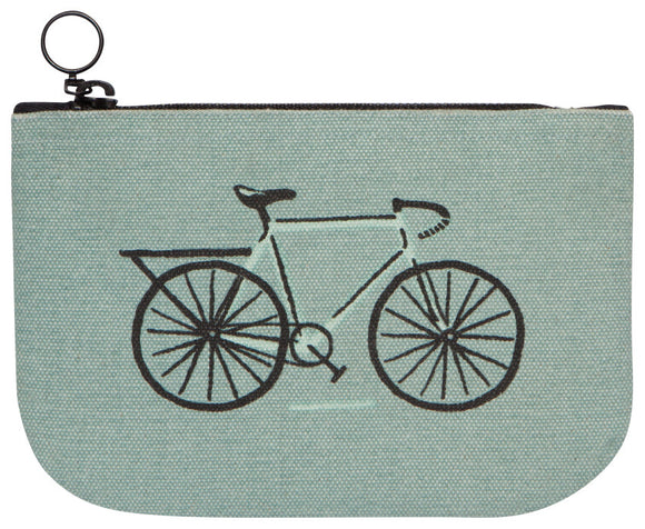 Blue Green Small Zip Pouch Bicycle