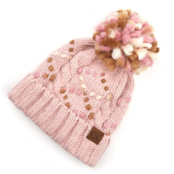 Pink, Brown, White Cold Weather Beanie