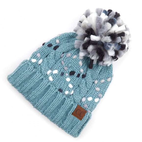 Turquoise Gray Black and White Cold Weather Beanie