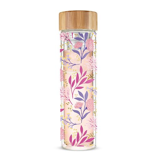 Pinky Up Hot Tea Travel Infuser Blair Bliss Pink & Purple Flowers