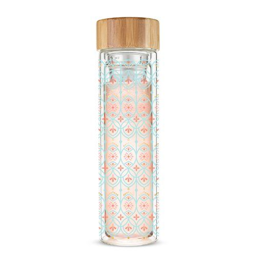 Pinky Up Hot Tea Travel Infuser Blair Arabesque Mint & Pink