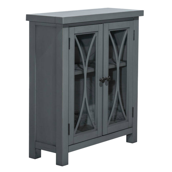 Blue/Gray Bayside 2 Door Narrow Cabinet with Glass