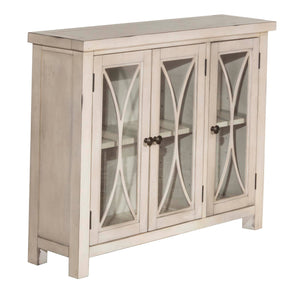 Off-White/Cream Bayside 3 Door Narrow Cabinet with Glass