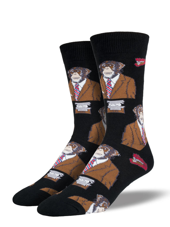 Men's Socksmith Monkey Business Socks in Black